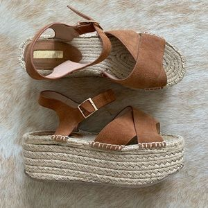 Top Shop Espadrille Platforms in Tan Suede